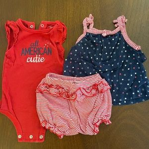 Baby girls 4th of July matching outfit 6 month